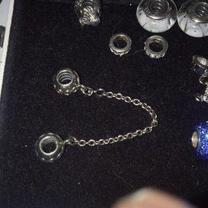 Pandora Bracelet Safety Chain Beads- Hearts